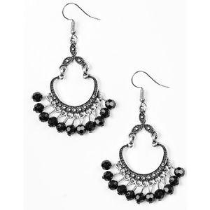 Black Beaded Silver Studded Dangle Earrings